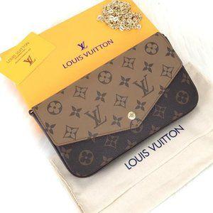 %100 AUTH Louis Vuitton  Felice Clutch  3 Piece